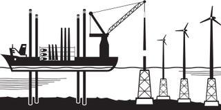 Het installatieschip bouwt windlandbouwbedrijf in het overzees vector illustratie