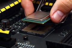 Het installeren van centrale verwerkingseenheidseenheid in motherboard stock afbeeldingen