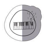het instrument van de cijferpiano met nota muzikaal pictogram royalty-vrije stock foto