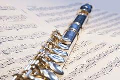 Het instrument van de fluit op de nota's Stock Afbeeldingen