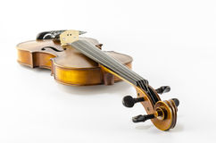 Het instrumentenviool van het muziekkoord op wit wordt geïsoleerd dat Stock Foto