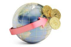 Het internationale concept van de bankoverdracht, het 3D teruggeven Stock Foto's