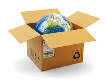 Het internationale concept van de pakketlevering, de globale zaken van het aankopenvervoer Royalty-vrije Stock Afbeeldingen