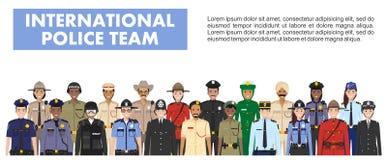 Het internationale concept van politiemensen Gedetailleerde illustratie van MEPambtenaar, politieagent, politieagente en sheriff  Stock Illustratie