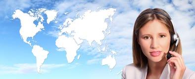 Het internationale contact van de call centreexploitant Stock Afbeeldingen