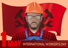 Het internationale ontwerp van de Arbeidersdag 1 MEI Stock Afbeelding