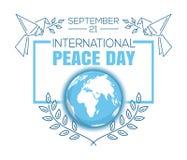 Het internationale ontwerp van de de groetkaart van de Vredesdag Royalty-vrije Stock Foto's