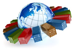 Het internationale pictogram van het containervervoer Stock Afbeelding