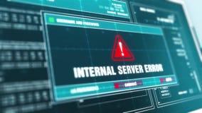 Het interne van het de Waarschuwingssysteem van de Serverfout van het de Veiligheids Waakzame bericht de Computerscherm stock videobeelden