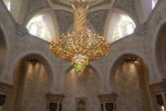 Het INTERNE VERLICHTINGSmateriaal binnen de grootste moskee van de V.A.E, SJEIK ZAYED GRAND MOSQUE bepaalde van in ABU DHABI de p Royalty-vrije Stock Afbeelding