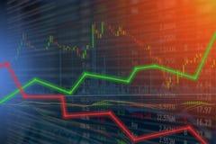 Het investeren en effectenbeursconceptenaanwinst en winsten met langzaam verdwenen c stock fotografie