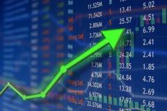 Het investeren en effectenbeursconceptenaanwinst en winsten met langzaam verdwenen kandelaargrafieken royalty-vrije stock afbeeldingen