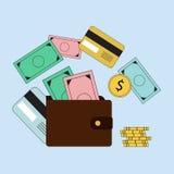 Het investeren en Persoonlijke Financiën, Krediet en het In de begroting opnemen Cash flowbeheer en financiële planning Elektroni royalty-vrije illustratie