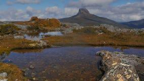 Het inzoomenschot van een groot korstmos behandelde rots in een hoge berg de Tarn stock videobeelden