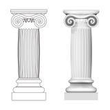 Het Ionische geïsoleerde zijaanzicht van de kolomstijl Royalty-vrije Stock Afbeeldingen