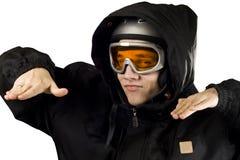 Het ironische jongen snowboarding royalty-vrije stock afbeeldingen