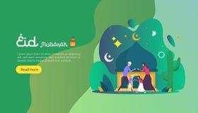 het Islamitische concept van de ontwerpillustratie voor Gelukkige eid Mubarak of ramadan groet met mensenkarakter malplaatje voor royalty-vrije illustratie