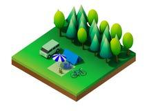 Het isometrische bos kamperen Royalty-vrije Stock Afbeelding