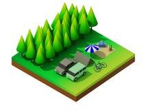 Het isometrische bos kamperen Royalty-vrije Stock Afbeeldingen