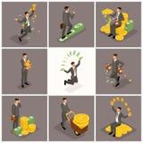 Het isometrische het bureauwerk van mensen vector, 3d zakenlieden, bedrijfsscène had op jonge zakenman, concept betrekking een we royalty-vrije illustratie