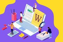 Het isometrische concept creatieve schrijven of blogging, onderwijs en content management voor webpagina, stock foto's