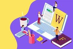 Het isometrische concept creatieve schrijven of blogging, onderwijs en content management voor webpagina, royalty-vrije stock fotografie