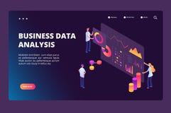 Het isometrische concept van de gegevensoptimalisering Persoon met de grafiek van analyseanalytics Bedrijfstechnologie, markt het vector illustratie