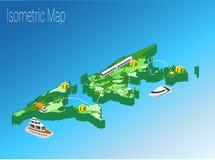 Het isometrische concept van de kaartwereld 3d vlakke illustratie Royalty-vrije Stock Afbeelding