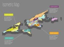 Het isometrische concept van de kaartwereld 3d vlakke illustratie Stock Foto's