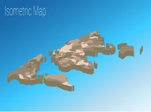 Het isometrische concept van de kaartwereld 3d vlakke illustratie Stock Fotografie