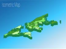 Het isometrische concept van de kaartwereld 3d vlakke illustratie Royalty-vrije Stock Foto's
