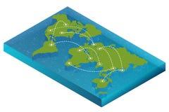 Het isometrische concept van de kaartwereld 3d vlakke illustratie van Kaartwereld De vectorkaart van de de verbindings Politieke  stock illustratie