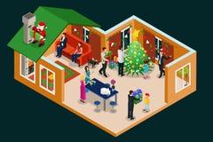 Het isometrische Concept van de Kerstmisvakantie royalty-vrije illustratie