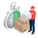 Het isometrische concept van de leveringsdienst Snelle leveringsauto, snelle levering motobike, leveringsmens, chronometer 3D vec Stock Afbeeldingen