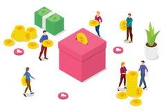 Het isometrische concept van de mensenschenking met teammensen brengt geld om en tussenvoegsel aan doos met moderne schone stijl  vector illustratie