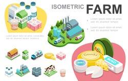 Het isometrische Concept van de Zuivelindustrieinfographic royalty-vrije illustratie