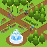 Het isometrische Concept van het de Zomerpark royalty-vrije illustratie