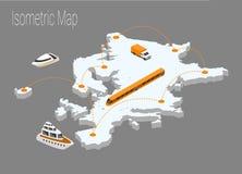 Het isometrische concept van kaarteuropa Royalty-vrije Stock Fotografie