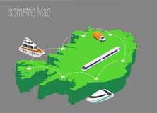 Het isometrische concept van kaartijsland Royalty-vrije Stock Afbeelding