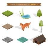 Het isometrische 3d bos kamperen Stock Foto