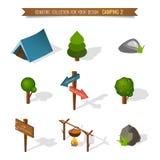 Het isometrische 3d bos kamperen Royalty-vrije Stock Foto's