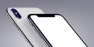 Het isometrische die close-up van het smartphonesmodel op grijze achtergrond wordt bebouwd stock illustratie