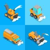 Het isometrische die Vervoer van de Sneeuwverwijdering met Sneeuwploegvrachtwagen en Tractor wordt geplaatst vector illustratie