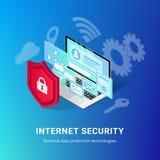 Het isometrische Internet-blauw van de veiligheidsbanner royalty-vrije illustratie