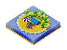 Het isometrische kamperen op het strand Royalty-vrije Stock Foto