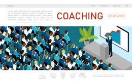 Het isometrische Malplaatje van de Bedrijfsconferentiewebpagina vector illustratie