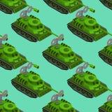 Het isometrische naadloze patroon van Toy Tank Militair voertuigstuk speelgoed clockw Stock Foto