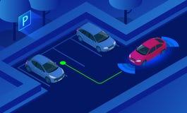 Het isometrische Parkeren staat Systeem vectorillustratie bij Autotechnologie met sensoren Sensoren die vrije ruimte aftasten aan royalty-vrije illustratie