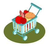 Het isometrische pictogram van de supermarktmand Vector illustratie Royalty-vrije Stock Afbeelding