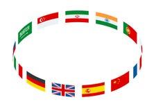 Het isometrische ronde die kader van wereldvlaggen wordt gemaakt isoleerde vectorillustratie vector illustratie